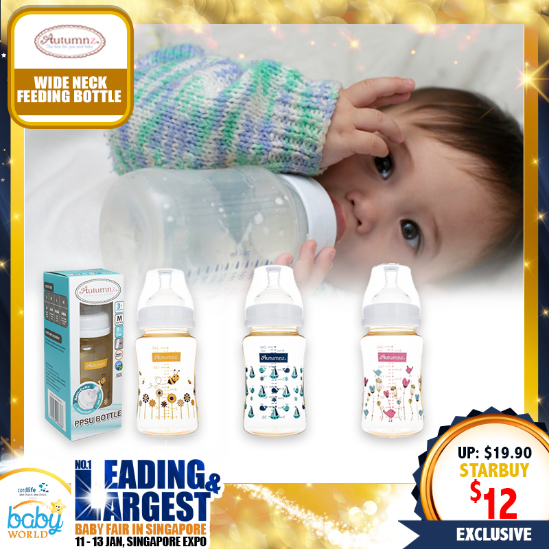 Autumnz - 8oz/240ml  PPSU Wide Neck Feeding Milk Bottle (Single Bottle)