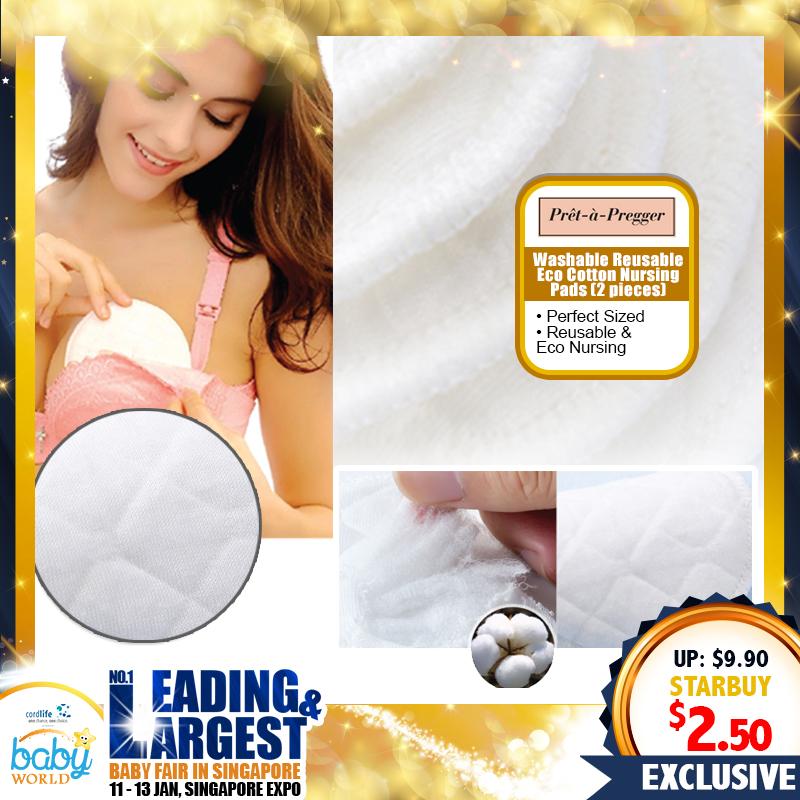 Pret-a-Pregger Washable Reusable Eco Cotton Nursing Pads (Bundle Of 2)