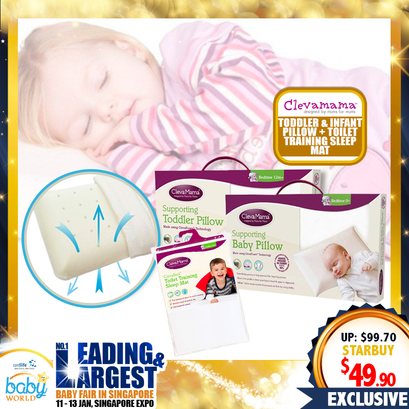 CLEVAMAMA Clevafoam Toddler Pillow + FREE Infant Travel Pillow + Cotton Single SIded Toilet Training Mat WORTH $49.80!