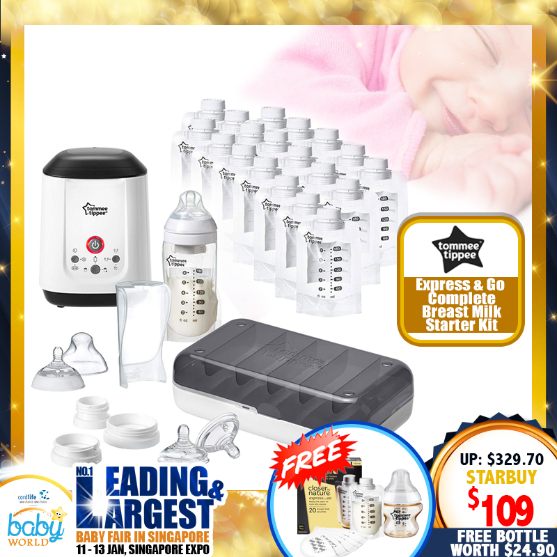 Tommee Tippee - Express & Go Complete Breastmilk Starter Set FREE Breastmilk Pouches + Disposable Breast Pads + PESU Bottle 150ML/5OZ!!