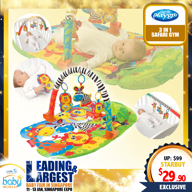 PLAYGRO 3 IN 1 SAFARI PLAYGYM (70 PERCENT OFF!!!)