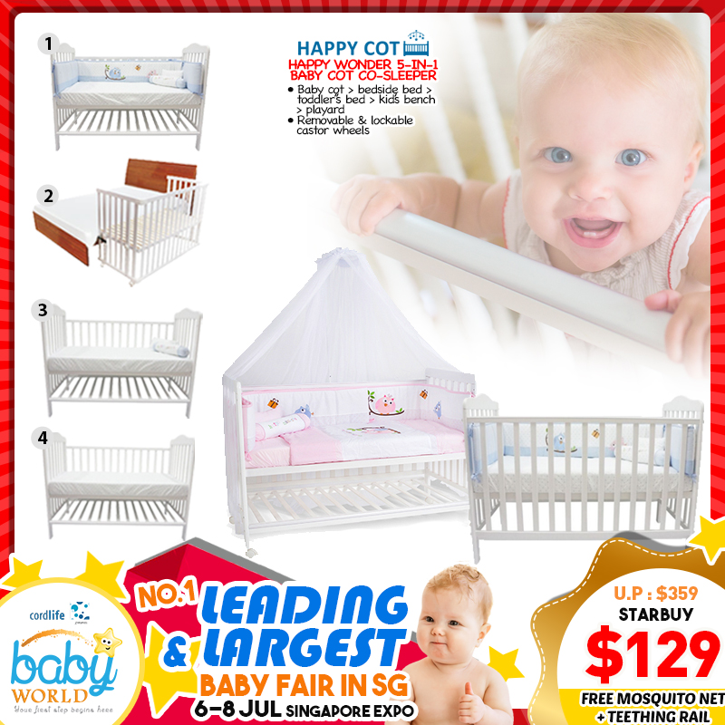 Happy Wonder 5 in 1 Baby Co-Sleeper Cot UP TO 65 Percent OFF!! *Additional $30 OFF For EARLY BIRD SPECIAL!!