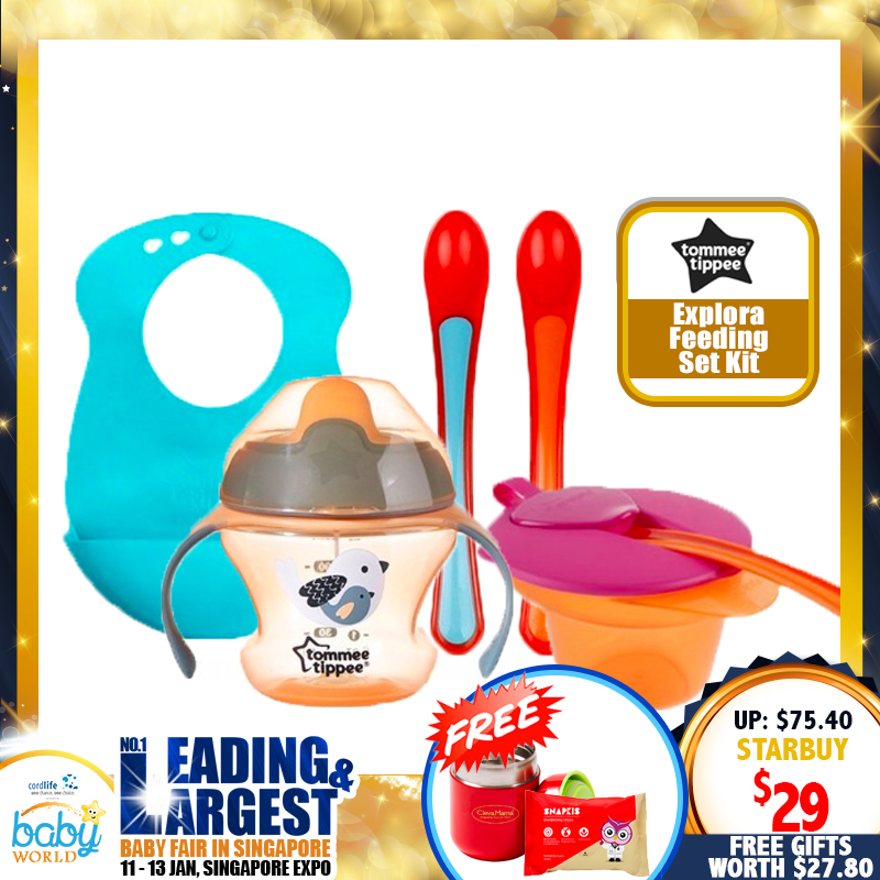TOMMEE TIPPEE Explora Feeding Set Kit FREE Thermal Flask + Snapkis Disinfecting Wipes!! 62% OFF!!