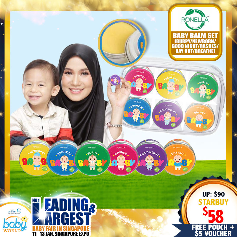 RONELLA Baby Balm Set Skincare (Burpy/Newborn/Good Night/Rashes/Day Out/Breathe) + Free Ronella Pouch & Gift Voucher $5