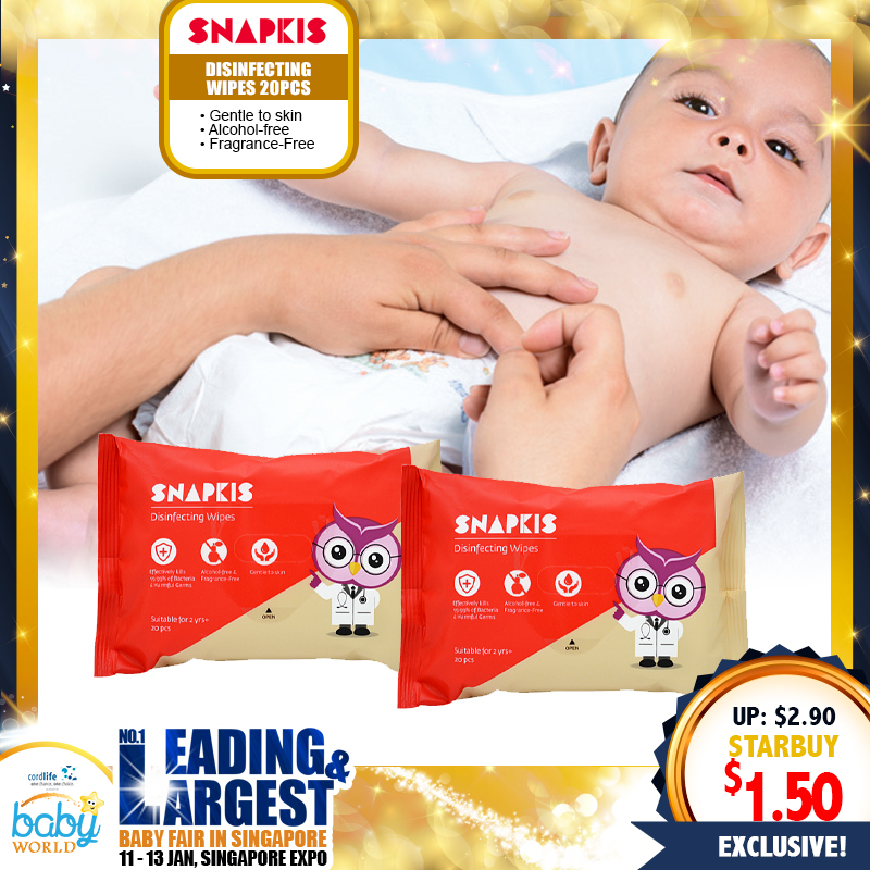 SNAPKIS Disinfecting wipes (20pc Pack)