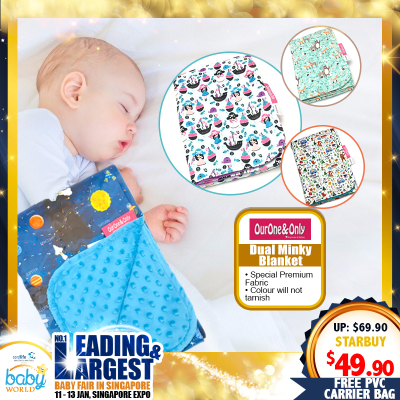 Ourone&Only Dual Sided Minky Blanket + Free PVC Transparent Carrier Bag *ADDITIONAL DISCOUNT with SAVE MORE COUPON!!