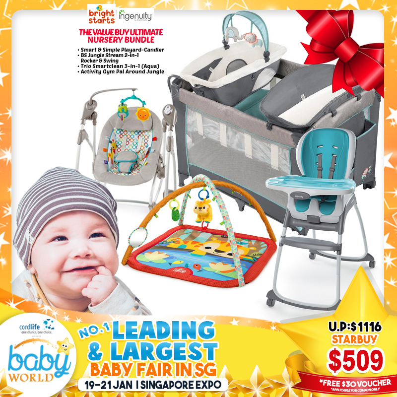 Ingenuity + Bright Starts Value Buy Ultimate Nursery Bundle - Ingenuity Smart & Simple Playard CANDLER + Trio Smartclean 3-in-1 Highchair + Bright Starts Jungle Stream Swing Rocker + Activity Gym *$499 ONLY for EARLY BIRD Specials!!