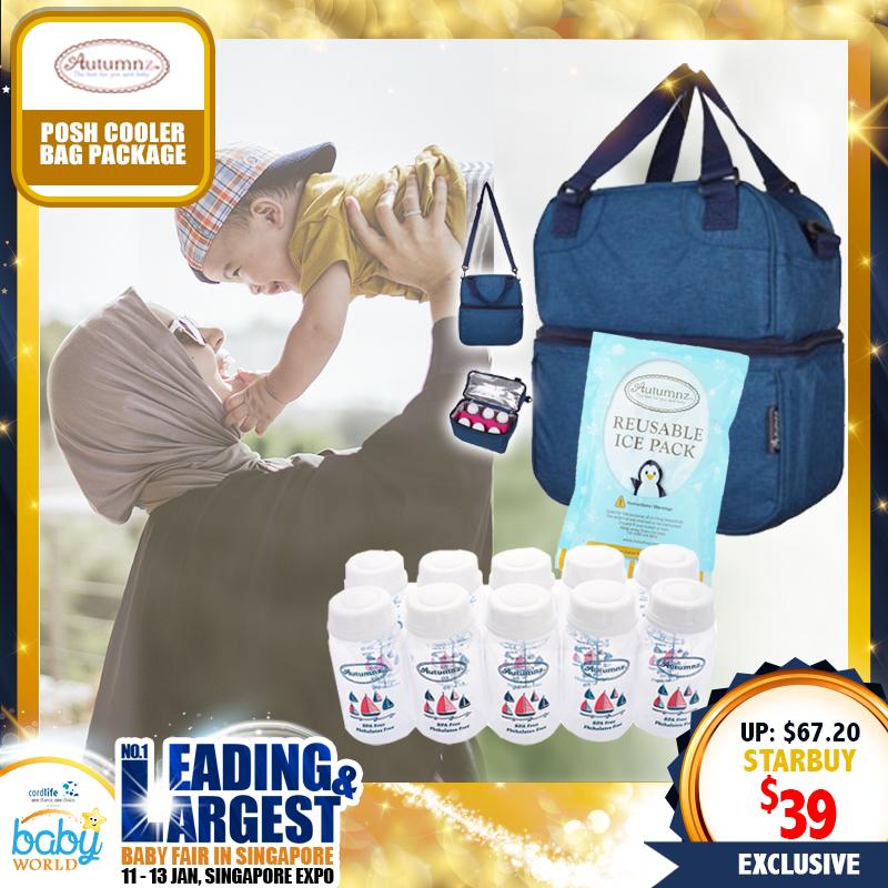 Autumnz Posh Cooler Bag + Ice Pack + Breastmilk Storage Bottles Bundle