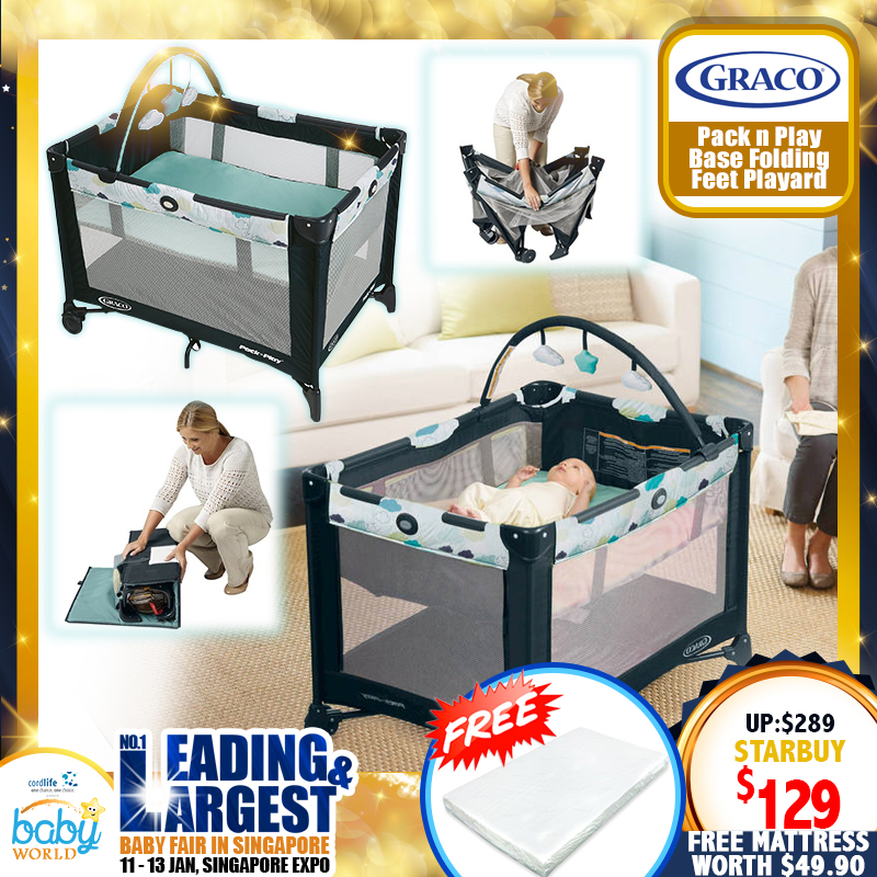 Graco Pack N Play Base Folding Feet Playpen (STRATUS) + Free 2 Inch Anti Dustmite Mattress worth $49.90