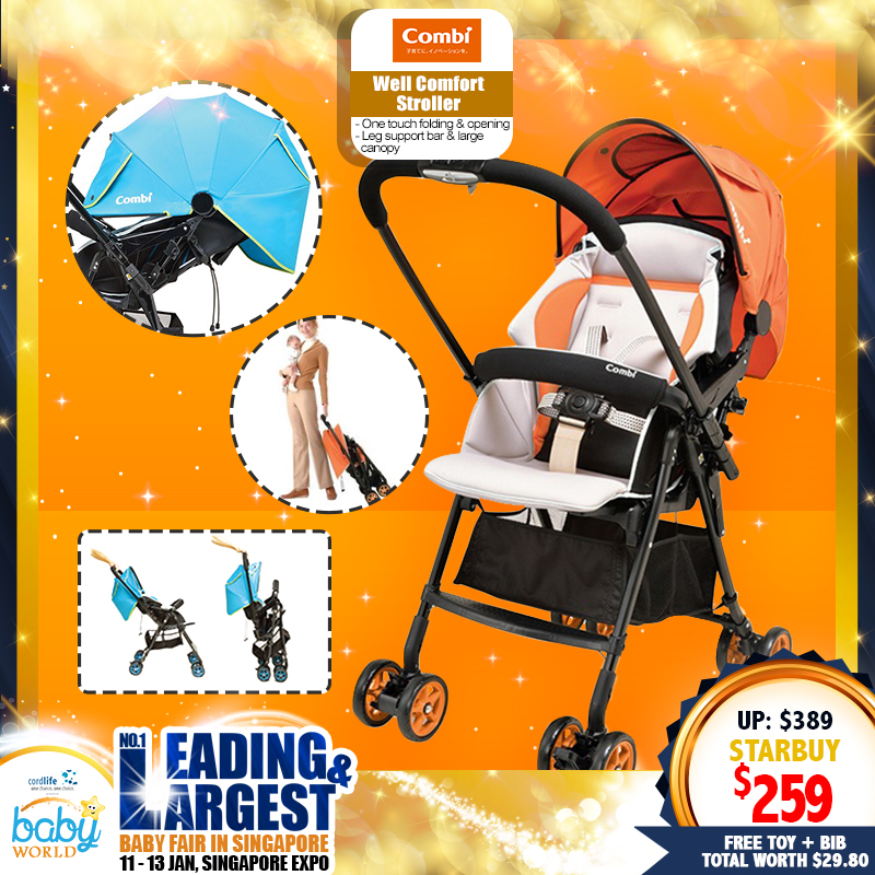 Combi Well Comfort Stroller FREE Toy + Handy Bib (Worth $29.80)!!