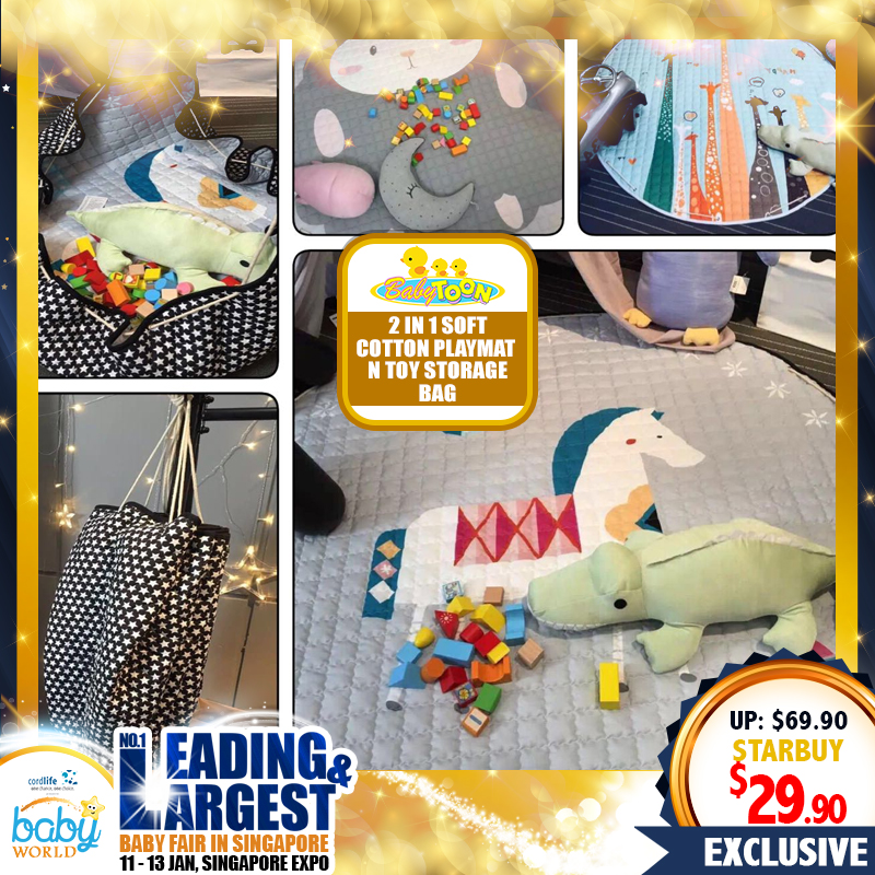 BabyToon 2-in-1 Soft Cotton PlayMat N Toy Storage Bag