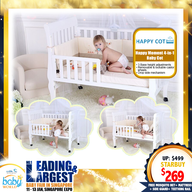 Happy Moment 4 in 1 Baby Cot + Mosquito Net +  Toddler's Side Guard + Teething Rail