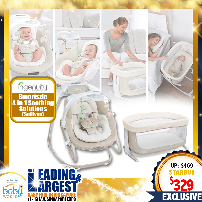 Ingenuity SmartSize 4-in-1 Soothing Solution Cradler / Swing / Rocker