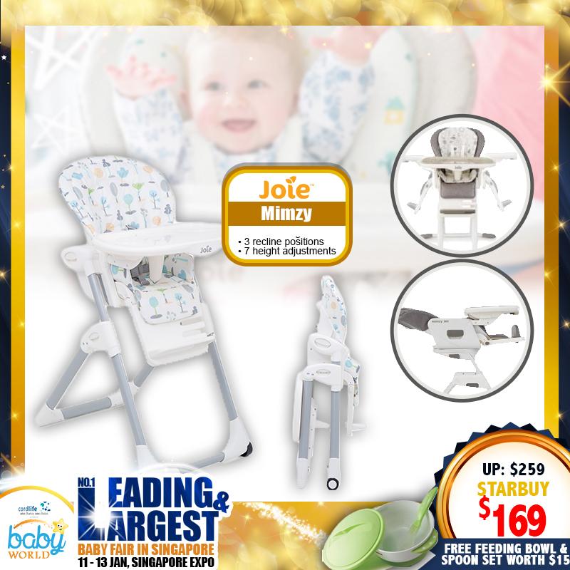 Joie Mimzy Highchair + Free Aprica Feeding Bowl & Spoon Set