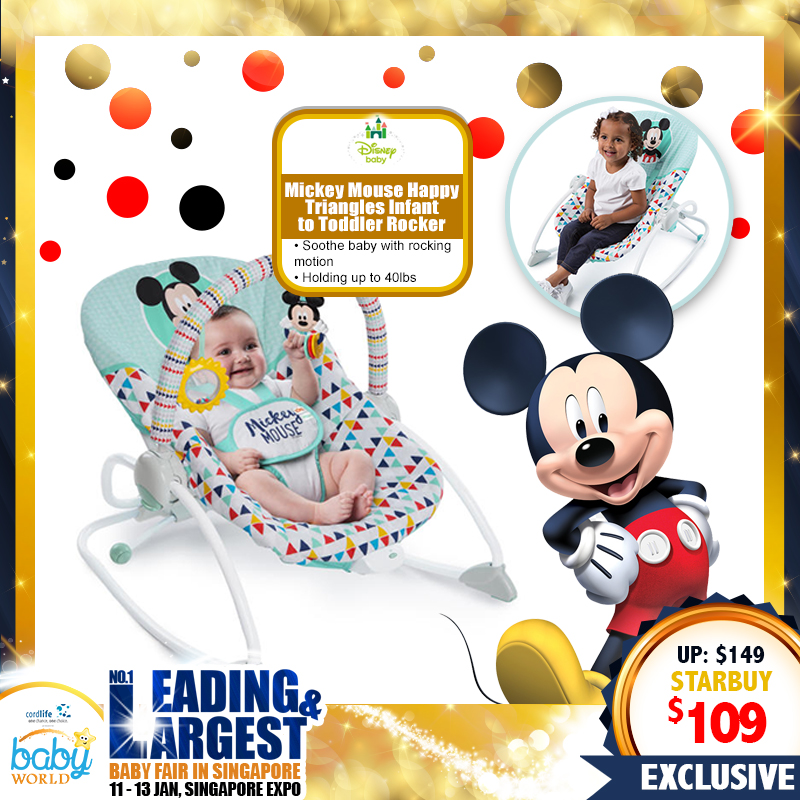 Disney Mickey Mouse Happy Triangles Infant to Toddler Rocker