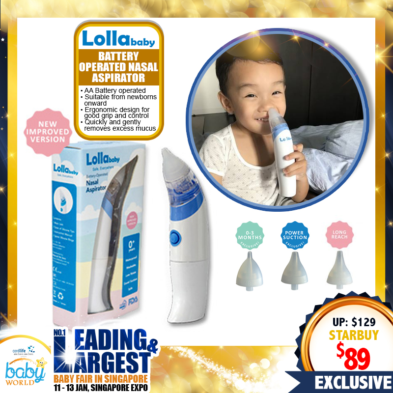 Lollababy Battery Operated Nasal Aspirator (IMPROVED Version)