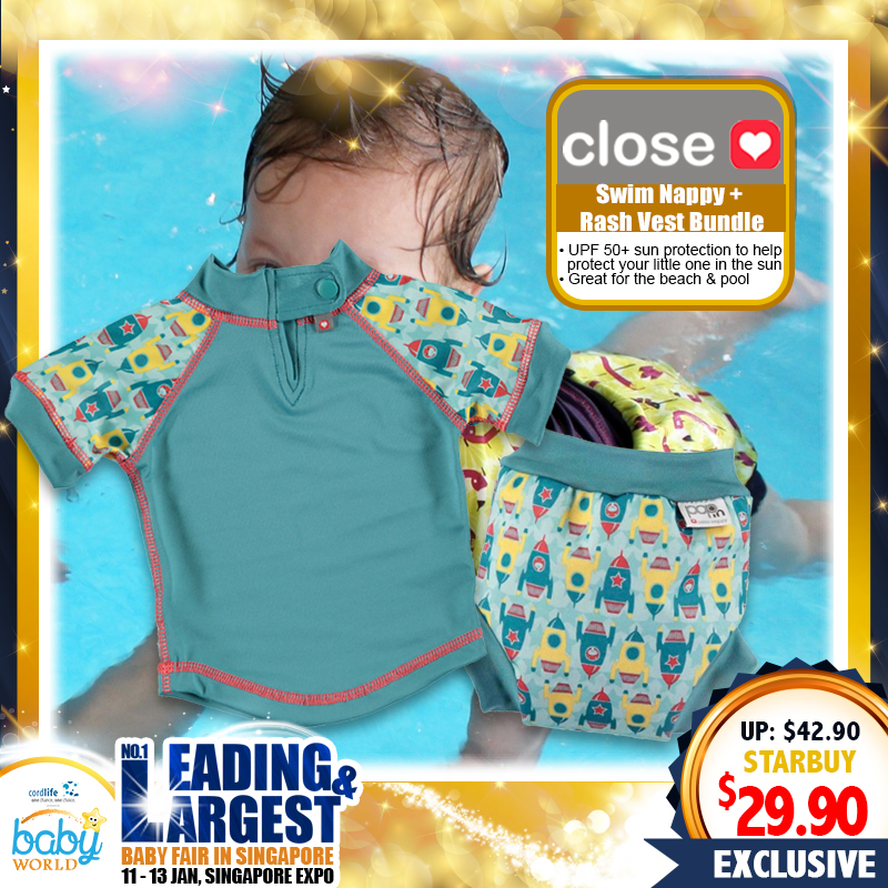 Close Parents Swim Suit Bundle - (Swim Nappy + Rash Vest)