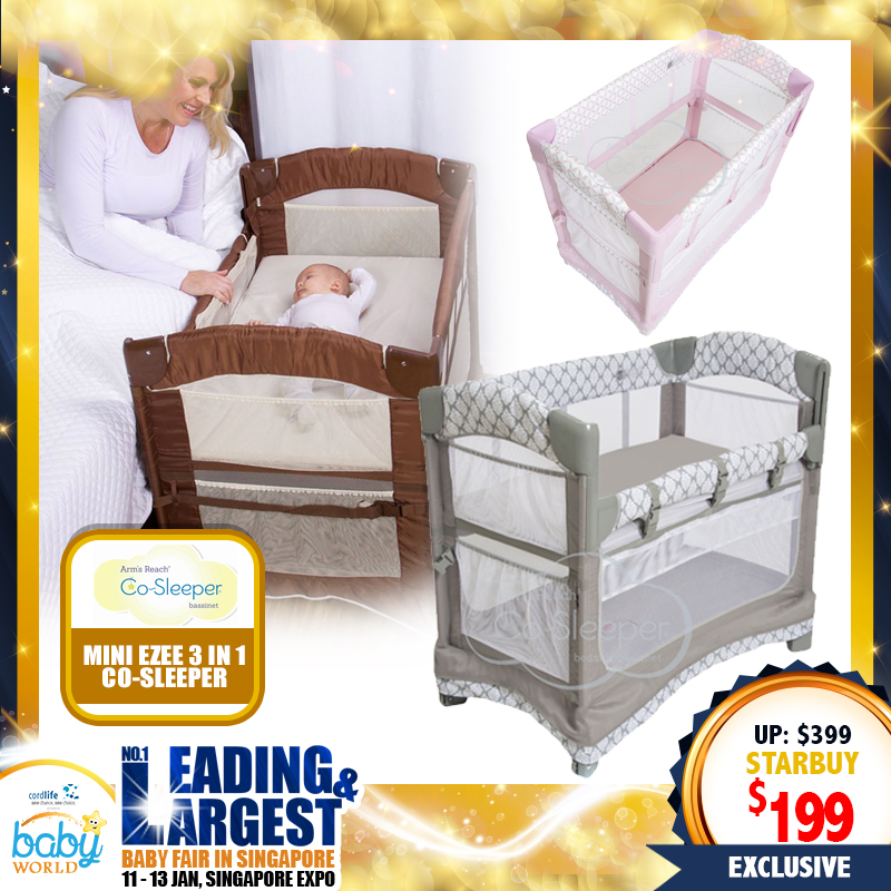 Arms Reach Mini Ezee 3 in 1 Co-Sleeper Baby Cot / Playpen FREE Canopy Mosquito Net (Worth $59.90!!)