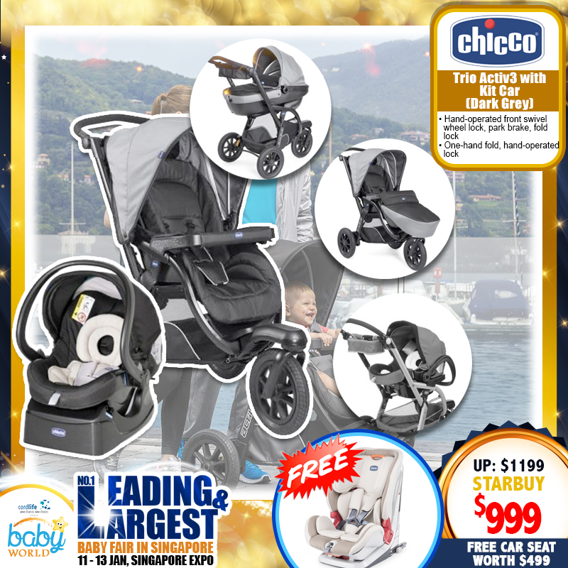 Chicco Trio Activ3 Stroller + Carrycot + Kit Carseat + FREE Youniverse Fix Baby Carseat Truffles worth $499!!