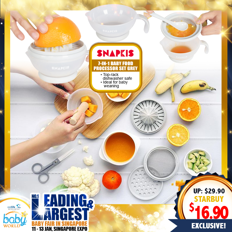 Snapkis 7-IN-1 Baby Food Processor Set (GREY)