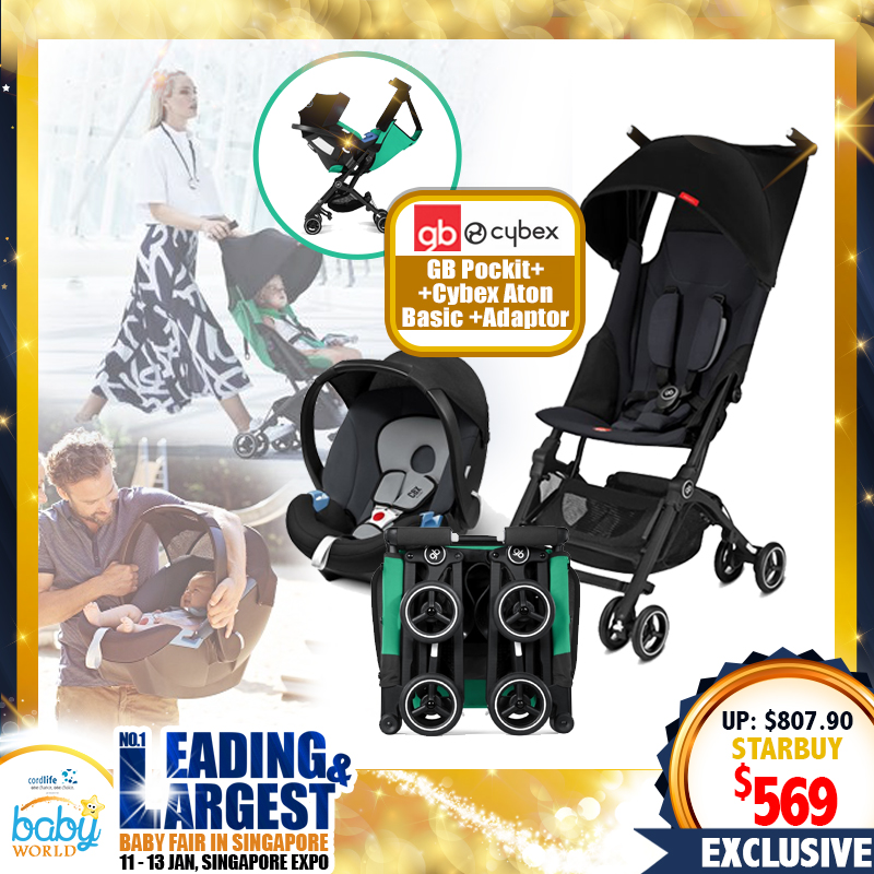 GB Pockit+ Y Stroller / Push Chair (Asst) + Cybex Aton Basic Infant Carseat (Asst) + Carseat Adapter (BLACK) Bundle
