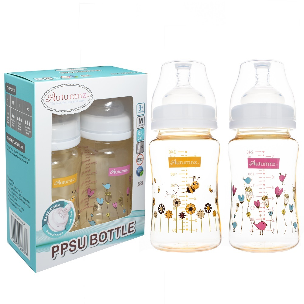 Autumnz 8oz Twin Pack PPSU Wide Neck Feeding Milk Bottle