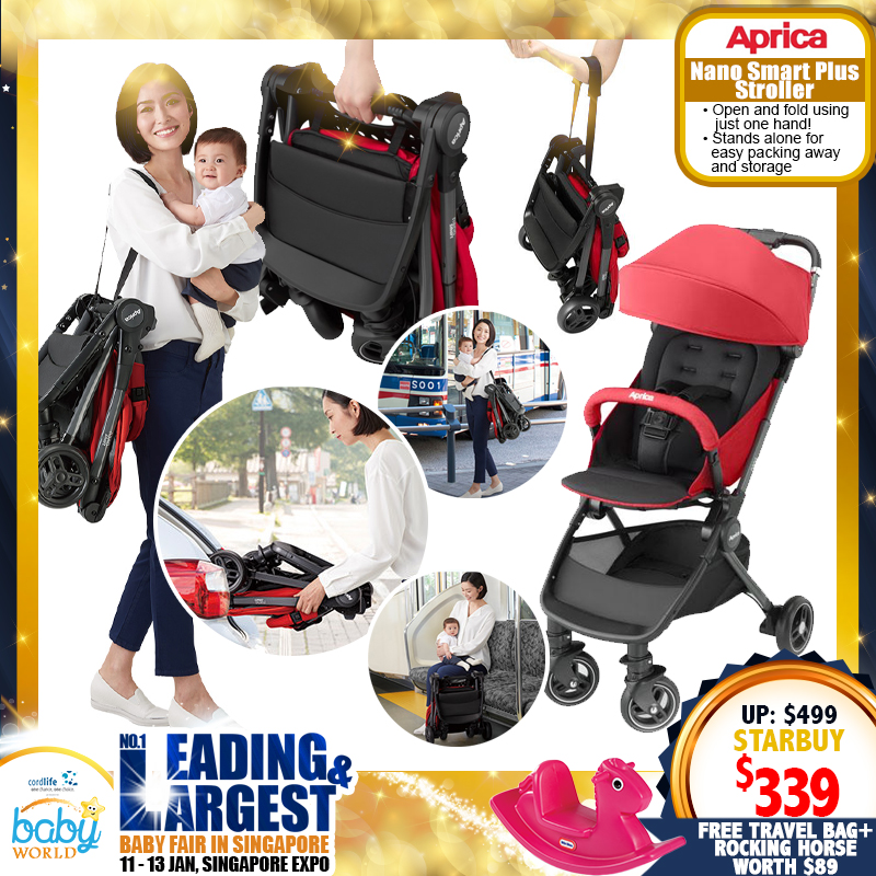 Aprica Nano Smart Plus Stroller + Free Travel bag and Little Tikes Rocking Horse worth $89