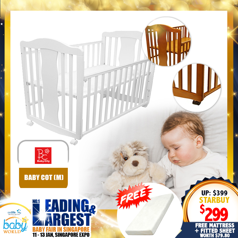Baby City Baby Cot / Crib / Playpen / Co-Sleeper FREE Foam Mattress + Tots Sateen Fitted Sheet (Worth $79.80)!! *ADDITIONAL $30 OFF WITH SAVE MORE COUPON!!