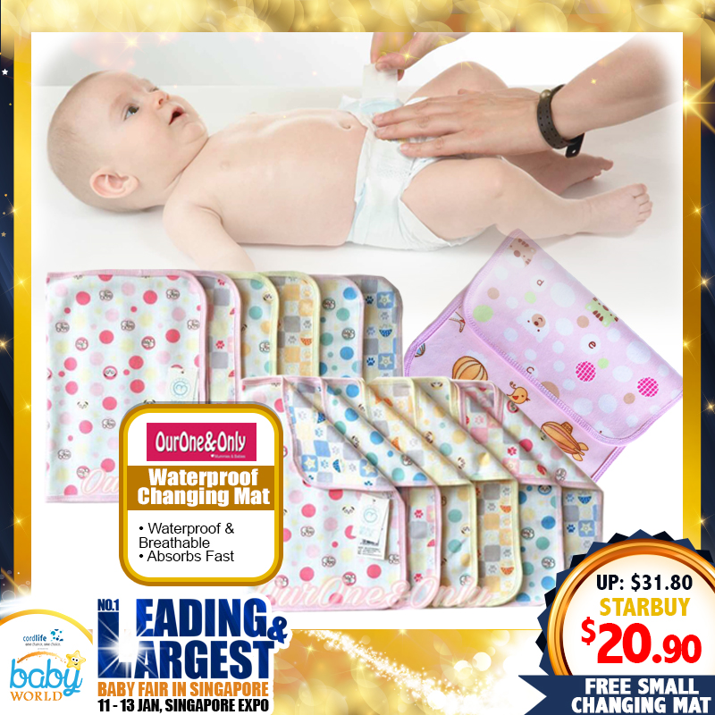 Ourone&Only Waterproof Changing Mat (L Size) FREE Small Changing Mat