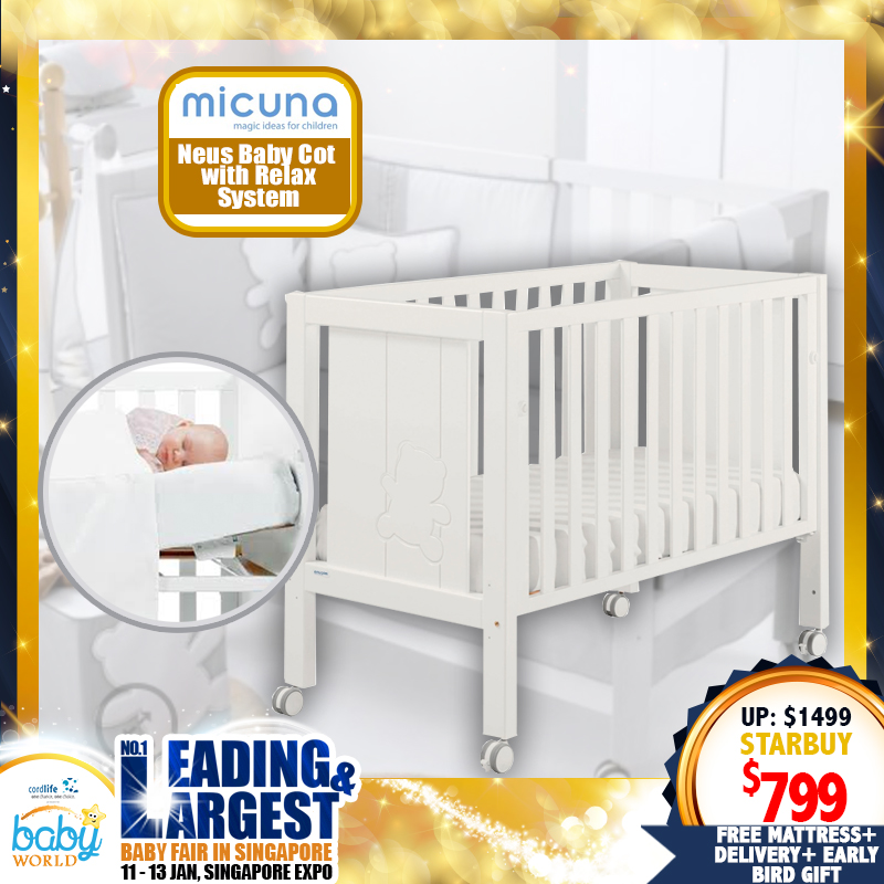 Micuna Neus Baby Cot with Relax System + 4