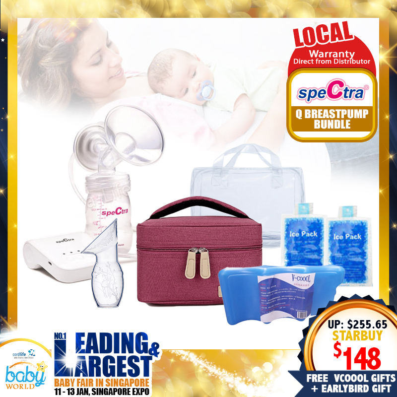 Spectra Q Single Portable Electric Breastpump + Free Gifts! (Local Warranty from Distributor) - (Additional Free Gift ONLY For EARLY BIRD SPECIAL*)