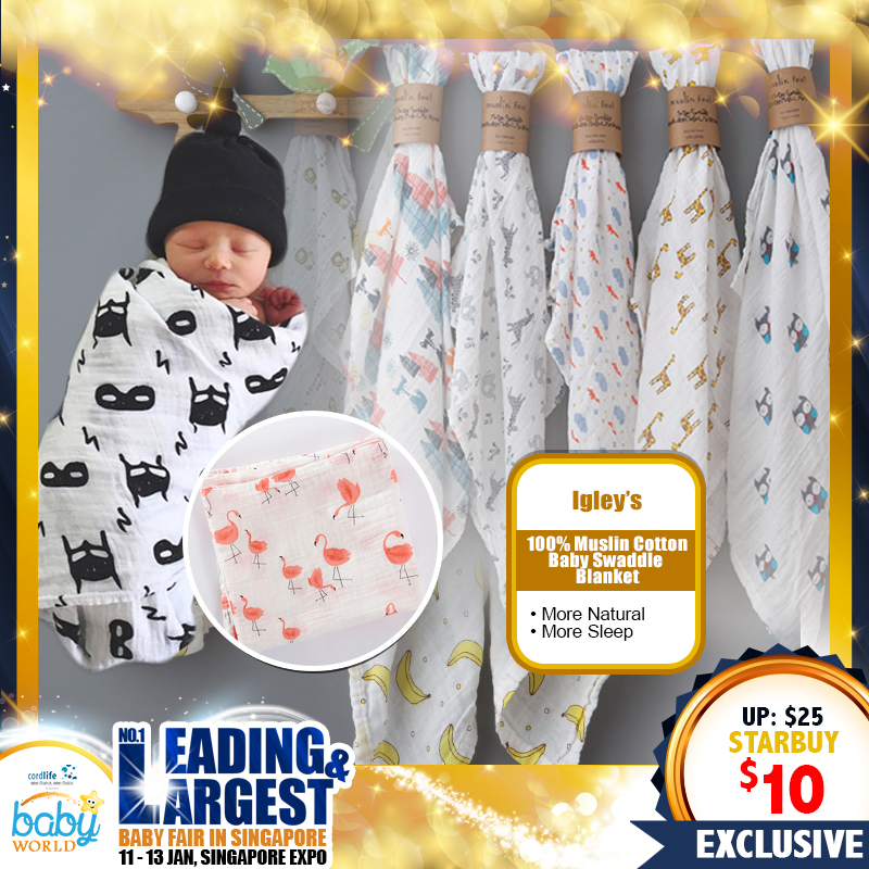 IGLEY'S Mother & Baby 100 Percent Muslin Cotton Baby Swaddle Blanket