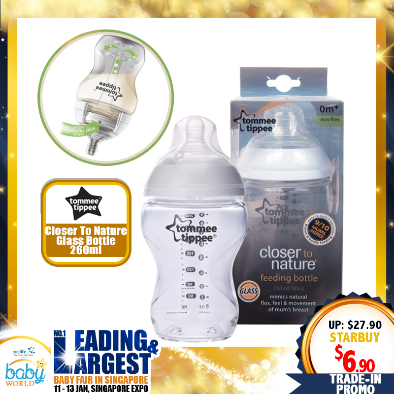 Bottle TRADE IN!! Tommee Tippee Closer to Nature Glass Bottle 260ml/9oz (BPA FREE!!)