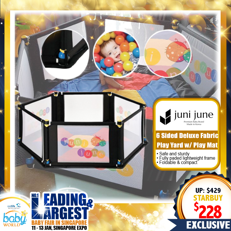 Juni June 6 Sided Deluxe Fabric Playpen with Playmat *ADDITIONAL $40 OFF with SAVE MORE COUPON!!