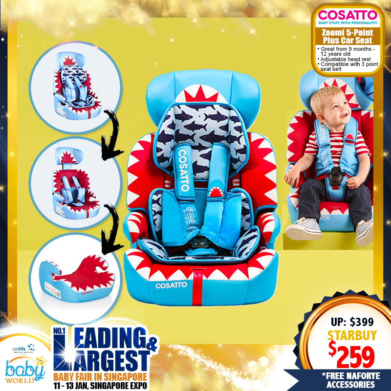 Cosatto Zoomi 123 Carseat & Booster - 5 Point Anti Escape Harness + FREE Tummy + Chest PADS + Naforye Accessories!