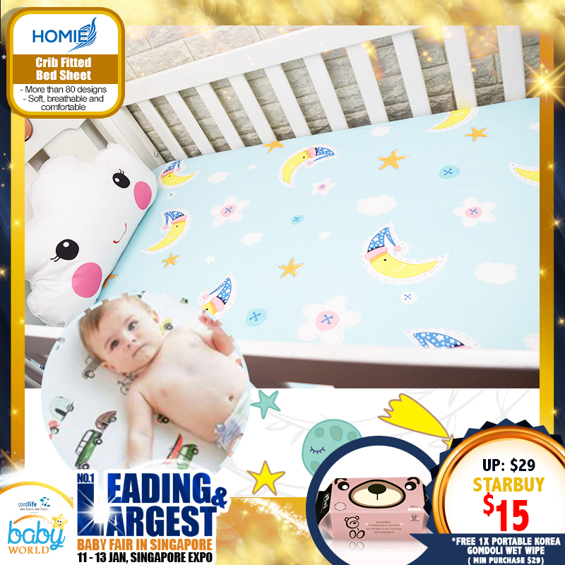 Homie Crib Fitted Bed Sheet Asst Designs *ADDITIONAL FREE Gift for EARLY BIRD SPECIAL!