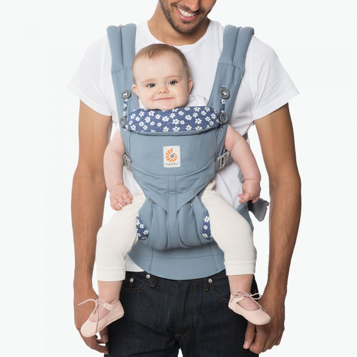 Ergobaby OMNI 360 All-In-One Baby Carrier - Blue Daisy *FREE TEETHING PAD (NEW DESIGN) for EARLY BIRD SPECIAL!