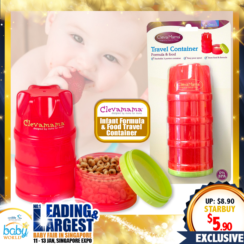 CLEVAMAMA Infant Formula and Food Travel Contrainer