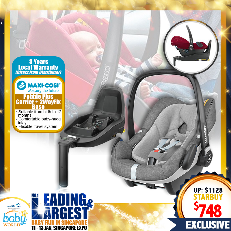 Maxi Cosi Pebble Plus Isofix Infant Carrier + 2WayFix Base + 3 Years Local Warranty! (PWP Available)
