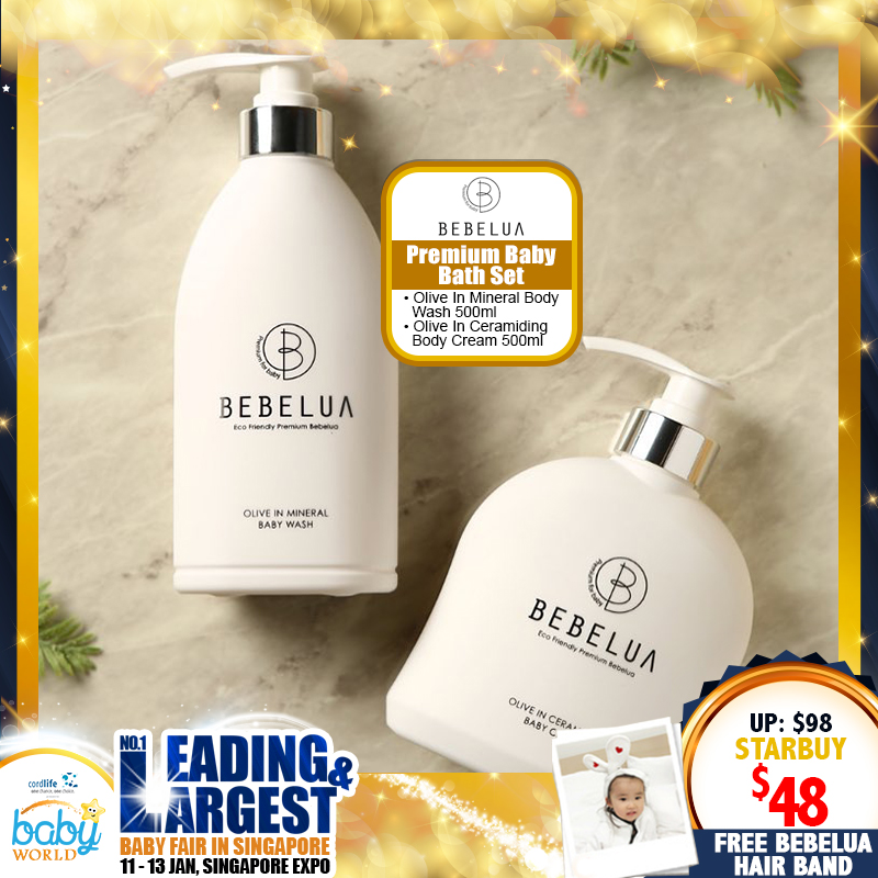 Bebelua Premium Baby Bath Set - Olive In Mineral Body Wash 500ml & Olive In Ceramiding Body Cream 500ml (Mix & Match) FREE Bebelua Hair Band