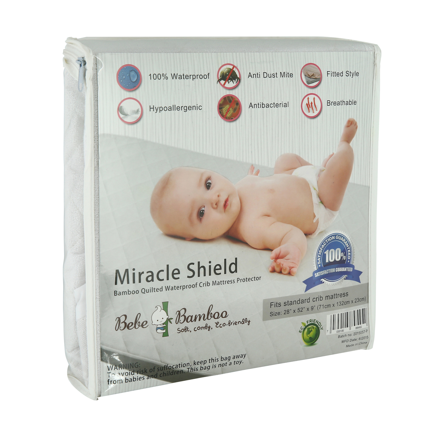 Award Winning Bebe Bamboo™ Miracle Shield Quilted Waterproof Mattress Protector Buy 1 FREE 1!!