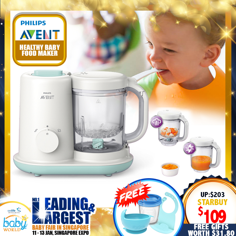 Philips Avent 2-In-1 Healthy Baby Food Maker + Free Storage Cups + Silicon Suction Bowl + Bibs