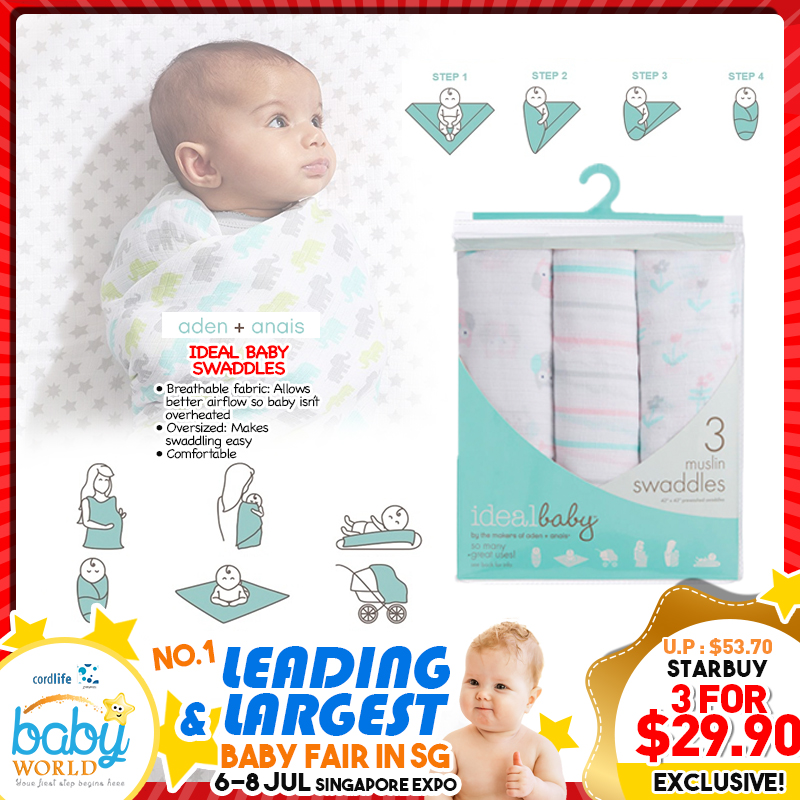 Aden + Anais Ideal Baby Swaddles - 3 Pack (6 Designs Available!!)