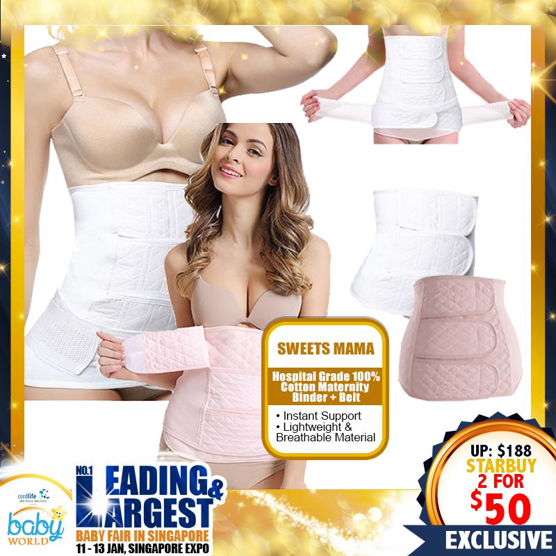 Sweets Mama Hospital Grade 100 Percent Cotton Maternity Binder + Belt (Bundle of 2)