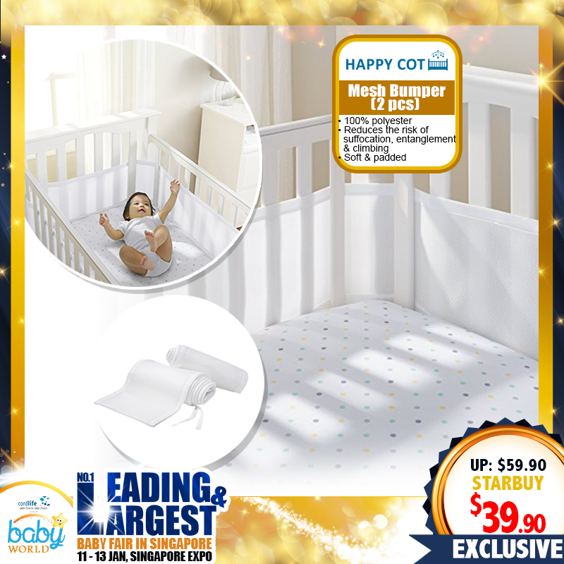 Happy Cot Mesh Bumper (2 pcs pack) - 34 PERCENT OFF
