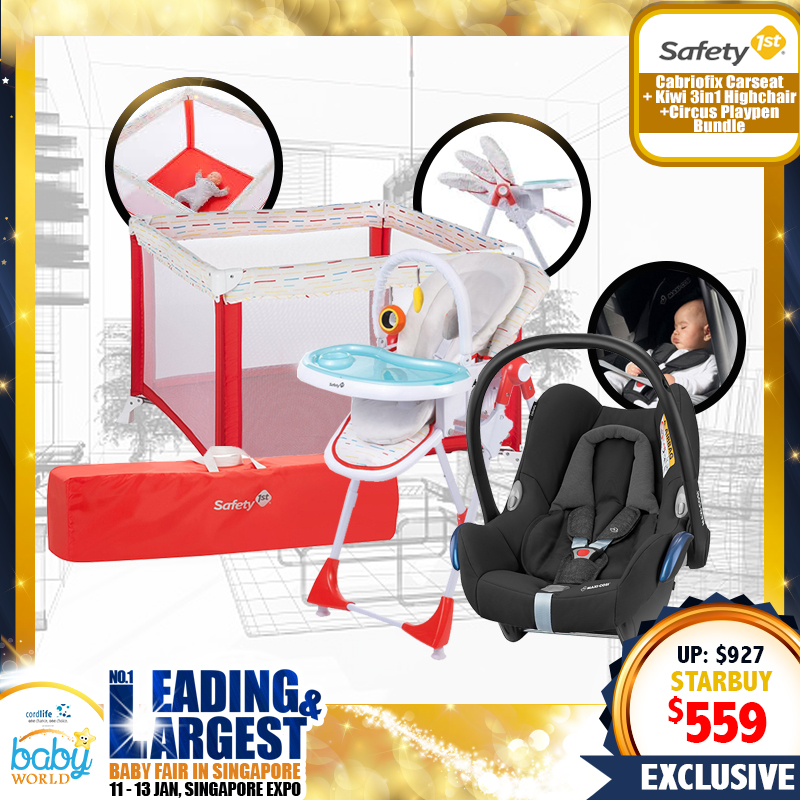 Maxi Cosi Cabriofix Carseats + Safety 1st Kiwi 3in1 Highchair + CIRCUS Playpen Bundle + Free 3 Years Local Warranty for Maxi Cosi only!!