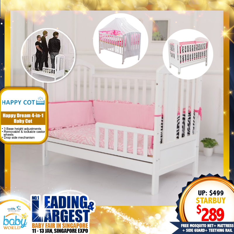 Happy Dream 4-in-1 Baby Cot +  4