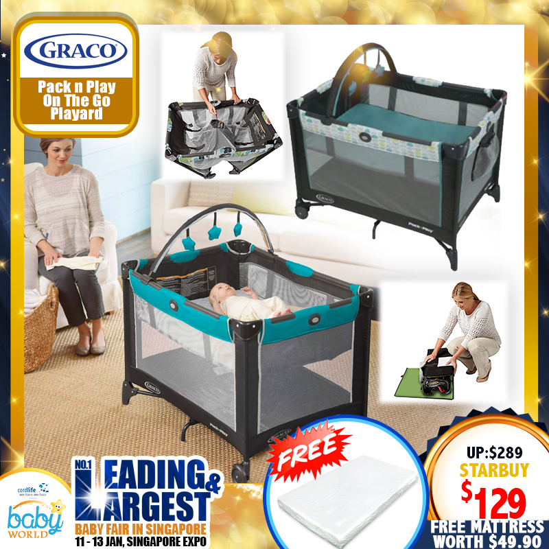 Graco Pack N Play Playpen On The Go (Fletcher) + Free 2 inch Anti Dustmite Mattress worth $49.90