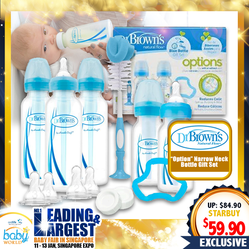 Dr Brown Option Narrow Neck (STD) Bottle Gift Set (BLUE/PINK)