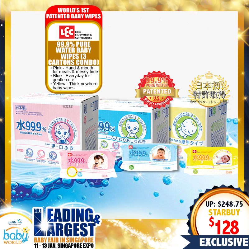 99.9% Pure Water Baby Wipes 3 Cartons Combo